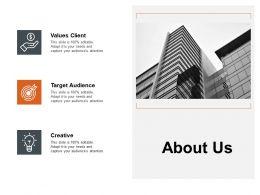 About Us Values Client L188 Ppt Powerpoint Presentation Ideas Files