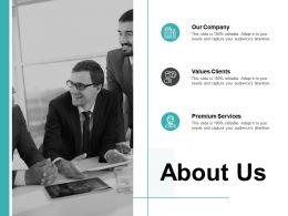 About Us Values Clients Premium Services C297 Ppt Powerpoint Presentation File Design Inspiration