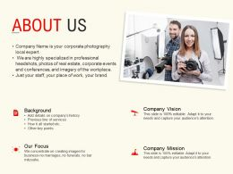 About Us Vision Mission L527 Ppt Powerpoint Presentation Template