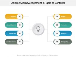 Abstract Acknowledgement In Table Of Contents