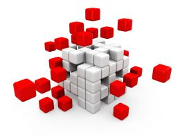 Abstract Red Cubes Assembling Stock Photo