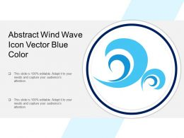 Abstract Wind Wave Icon Vector Blue Color