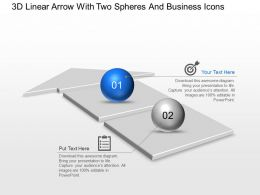 Ac 3d Linear Arrow With Two Spheres And Business Icons Powerpoint Template Slide