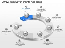 Ac Arrow With Seven Points And Icons Powerpoint Template