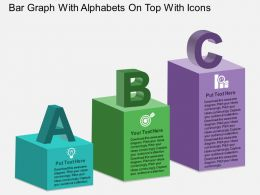 Ac Bar Graph With Alphabets On Top With Icons Powerpoint Template