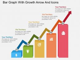 ac Bar Graph With Growth Arrow And Icons Flat Powerpoint Design