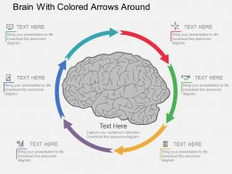 ac Brain With Colored Arrows Around Flat Powerpoint Design