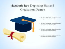 Academic Icon Depicting Hat And Graduation Degree