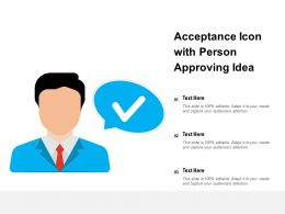 Acceptance Icon With Person Approving Idea