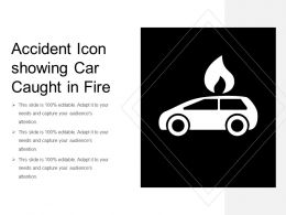 Accident Icon Showing Car Caught In Fire