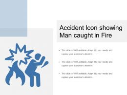 Accident Icon Showing Man Caught In Fire