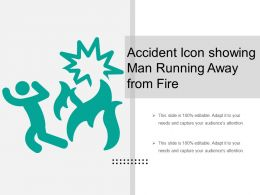 Accident Icon Showing Man Running Away From Fire