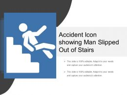Accident Icon Showing Man Slipped Out Of Stairs