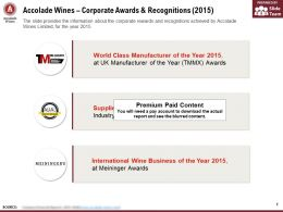 Accolade Wines Corporate Awards And Recognitions 2015