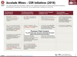 Accolade Wines CSR Initiatives 2018