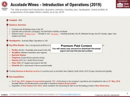 Accolade Wines Introduction Of Operations 2019