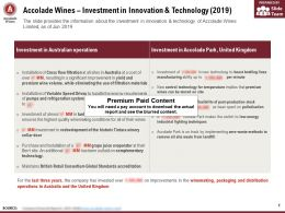 Accolade Wines Investment In Innovation And Technology 2019