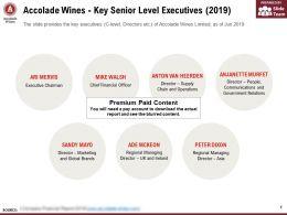 Accolade Wines Key Senior Level Executives 2019