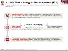 Accolade Wines Strategy For Smooth Operations 2019