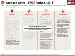 Accolade Wines SWOT Analysis 2018