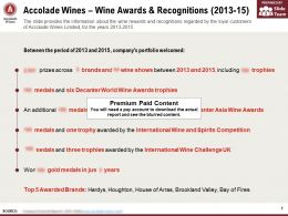 Accolade Wines Wine Awards And Recognitions 2013-15