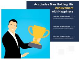 Accolades Man Holding His Achievement With Happiness