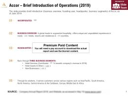 Accor Brief Introduction Of Operations 2019