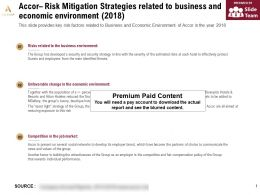 Accor Risk Mitigation Strategies Related To Business And Economic Environment 2018