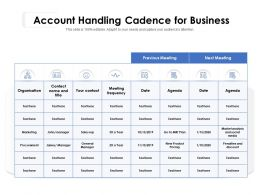 Account Handling Cadence For Business