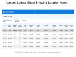 Account Ledger Sheet Showing Supplier Name With Total Amount