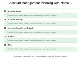 Account Management Planning With Name Sector Region