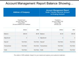 Account Management Report Balance Showing Address Of Company