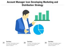 Account Manager Icon Developing Marketing And Distribution Strategy