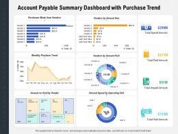 Account Payable Summary Dashboard With Purchase Trend