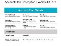 Account Plan Description Example Of Ppt