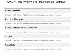 Account Plan Template For Understanding Customer Business Good Ppt Example
