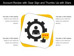 Account Review With Gear Sign And Thumbs Up With Stars