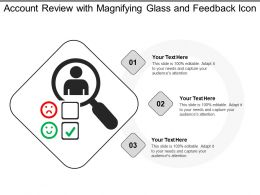 Account Review With Magnifying Glass And Feedback Icon