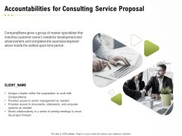 Accountabilities For Consulting Service Proposal Ppt Powerpoint Presentation Slides Good
