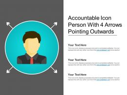 Accountable Icon Person With 4 Arrows Pointing Outwards