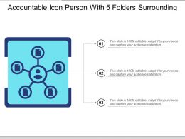 Accountable Icon Person With 5 Folders Surrounding