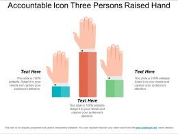 Accountable Icon Three Persons Raised Hand