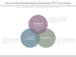Accounting Bookkeeping Business Ppt Summary