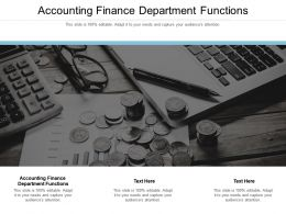 Accounting Finance Department Functions Ppt Summary Information Cpb
