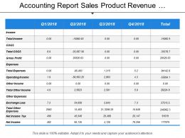 Accounting Report Sales Product Revenue Expense Customer Income