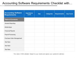 Accounting Software Requirements Checklist With Gap Fit Analysis