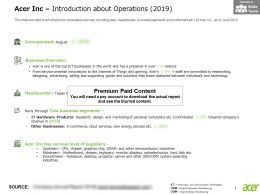 Acer Inc Introduction About Operations 2019
