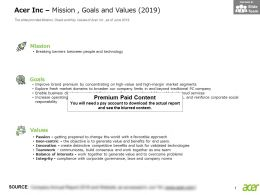 Acer Inc Mission Goals And Values 2019