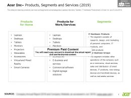 Acer Inc Products Segments And Services 2019