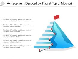 Achievement Denoted By Flag At Top Of Mountain